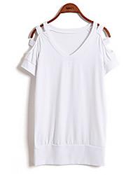 Milan vrouwen casual / werk v-hals korte mouw topjes& blouses (katoen)