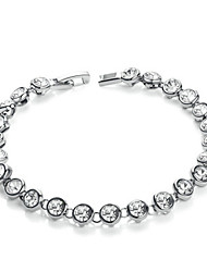 T&C Women's  Silver Color 18K White Gold Plated Clear Simulated Diamond Shining Austria Crystal Tennis Bracelet