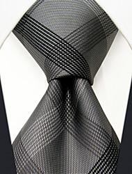 SXL1 Classic Dress Men's Neckties Gray Checked 100% Silk Business Handmade New