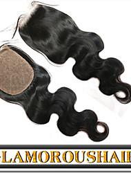 High Quality Virgin Peruvian Hair Silk Base Closure, Glamorous Hair Body Wave 4X4 Cheap Silk Base Closure