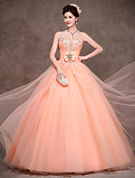 Ball Gown Princess Strapless Floor Length Polyester Satin Tulle Formal Evening Dress with Bow(s) Crystal Detailing Lace Sash / Ribbon