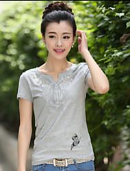 Mulheres Camiseta Decote V Manga Curta Renda Algodão/Elastano Mulheres