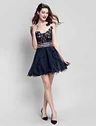 A-Line Jewel Neck Short / Mini Tulle Homecoming Prom Company Party Dress with Beading Lace by TS Couture®