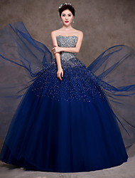 Formal Evening Dress - Dark Navy Ball Gown Strapless Floor-length Satin/Tulle/Stretch Satin