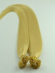 "200Strands 12""-26""Indian Virgin Silky Straight Nail Hair Blench Blonde Color Pre-bonded Human Hair Extensions"