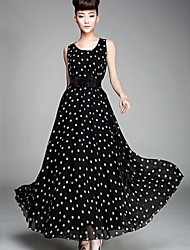 sexy maxi bonito ocasional das mulheres mais tamanhos micro maxi vestido sem mangas elásticas (chiffon)
