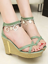 Sakura  Women's Shoes Green/Almond Wedge Heel 3-6cm Sandals