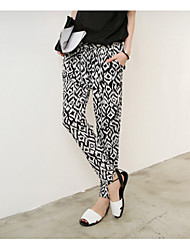 Women's Print Black Harem Pants , Beach/Casual/Print