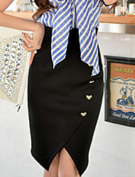 Jupes ( Élastique/Polyester ) Bodycon/Travail Femme