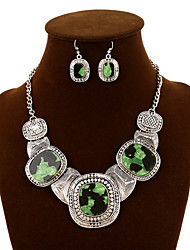 NEW Style Women's Clothing Accessories Precious Stone Necklace Alloy Wedding/Party Jewelry Set (Necklace+Earrings)