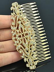 Alloy Gold Rhinestone Women Wedding Prom Flower Girl Leaves Flower Hair Comb