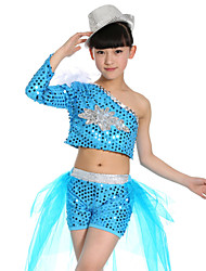 Jazz Performance Outfits Children's Performance Polyester Fashion Sequins Outfit Blue/Fuchsia/Yellow Kids Dance Costumes