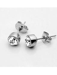 HKTC Elegant Popular 5mm Simple Round Clear Cubic Zirconia Stud Earrings jewelry