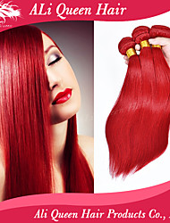 Ali Queen Hair 6a Brazilian Virgin Hair Straight  Fashion Passion Red Remy weaves 3Pcs/Lot Free Shipping