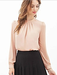 Women's Solid Pink/Black Blouse , Round Neck Long Sleeve