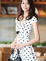 Women's White/Black Dress , Casual/Cute/Party Sleeveless