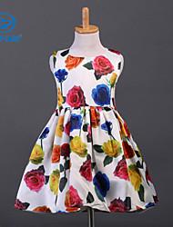 CANIS@Girl's Summer Sleeveless Flower Print Dress (Cotton)