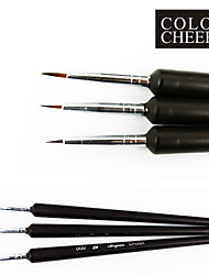 3PCS Black Tiny Acrylic Nail Art Drawing Painting Pen Brush