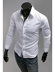 Jert Men's Casual Pan Collar Long Sleeve Casual Shirts (Cotton)