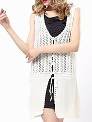 Women's White Cardigan , Sexy/Casual Sleeveless Button