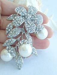 Wedding Accessories Wedding Deco Silver-tone Pearl Rhinestone Crystal Bridal Brooch Bridal Bouquet Bridal Jewelry