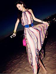 Vestidos ( Gasa )- Playa/Casual Redondo Sin Mangas para Mujer