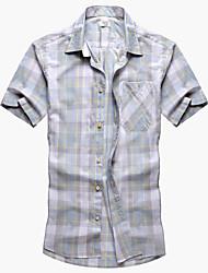 Men's Casual Short Sleeve Cotton Check Shirt