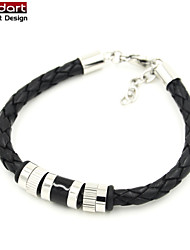 Black Genuine Cow Leather Bangle with IP Black 316L Stainless Steel Beads Bracelet for Unisex