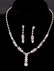 Women's Silver/Alloy Wedding/Party Jewelry Drop White Rhinestones/Crystal/Diamond For Bridal Earrings Necklace