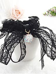 Fashion Rhinestone Crystal Ball Big Black Bow Lace Hair Ties