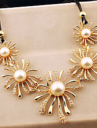 New Arrival Fashional Hot Selling Rhinestone Pearl Chrysanthemum Necklace