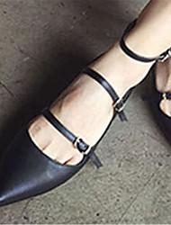 Calçados Femininos Couro Envernizado Salto Baixo MaryJane Sapatos de Barco Ar-Livre Preto