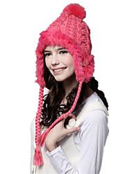 Kenmont Women Lady Winter 100% Rabbit Hair Fashion Knitted Cap Lovely Ball Earmuff Hat 1018