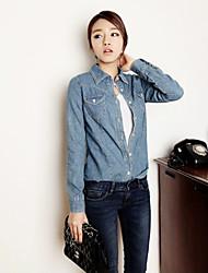 Women's Solid Blue Denim Top , Casual Shirt Collar Long Sleeve Pocket