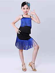 Latin Dance Performance Outfits Children's Performance/Training Polyester Tassel Outfit Blue Kids Dance Costumes