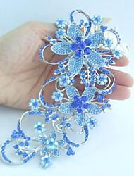 Women Accessories Silver-tone Blue Rhinestone Crystal Flower Brooch Art Deco Crystal Brooch Bouquet Women Jewelry