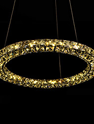 LED Crystal Pendant Lamps Light Ceiling Lighting Amber K9 Crystal Round Single Ring  D70 Fixtures