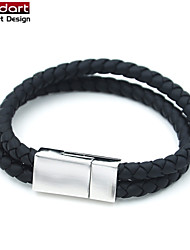 Black Genuine Cow Leather Ropes Bangle with 316L Stainless Steel Magnet Buckle for Unisex