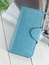 Women's PU Leather Press Stud Closure Long Wallet