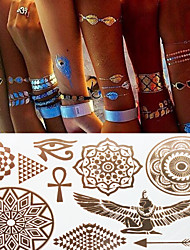 Sex Glitter Metal Gold Ancient Egypt Totems Tattoo Stickers Temporary Tattoos(1 pc)