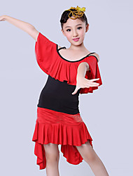 Latin Dance Performance Outfits Children's Performance/Training Polyester Pleated Outfit Blue/Red Kids Dance Costumes
