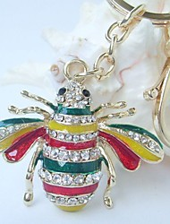 Lovely Honeybee Key Chain With Clear Rhinestone crystals