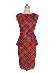 Tracy Women's Plaid Work Round Sleeveless Pencil Dresses (Cotton Blend)