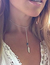 Women's Fashion Beaded Turquoise Feather Shape Pendant Tassel Alloy Necklace