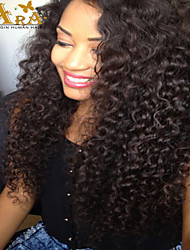 "8""-26"" Brazilian Virgin Hair Curly Glueless Full Lace Wig Color Black With Baby Hair for Black Women"