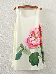 Mulheres Malha Íntima Casual Simples Verão,Floral Branco Poliéster Decote Redondo Sem Manga Fina