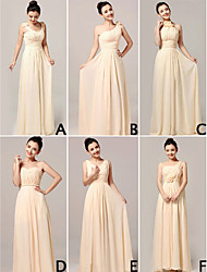 Formal Evening Dress A-line Halter / One Shoulder / Strapless / V-neck / Straps Floor-length Chiffon with Flower(s) / Criss Cross