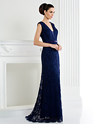 Homecoming TS Couture Formal Evening Dress - Dark Navy / Ivory A-line V-neck Sweep/Brush Train Lace