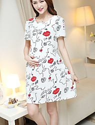Maternity Cute Lips Printing Short Sleeve Dress