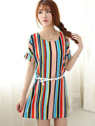 Women's Casual/Party/Work Round Short Sleeve Dresses (Chiffon)